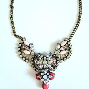 Beautiful Pink and Crystal Statement Necklace
